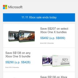 [Microsoft Store] 11.11 Xbox sale ends today. Last chance