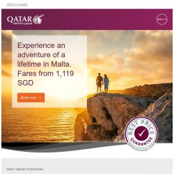 [Qatar] Experience an adventure of a lifetime in Malta. Fares from 1,119 SGD