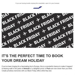 [Finnair] Our finest Black Friday flight offers from 799 SGD