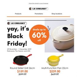 [Le Creuset] Yay, it's Black Friday! Up to 60% off 🔥