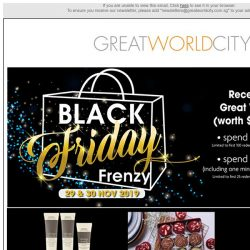 [Great World City]  Black Friday Frenzy and December Specials @ Great World City
