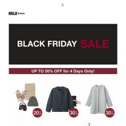 [Muji] Ready up for MUJI Black Friday Sale (Up to 50% OFF!)