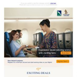 [Singapore Airlines] Last 6 days to enjoy exciting fares to over 70 destinations