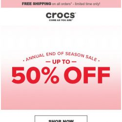 [Crocs Singapore] 2019 End of Season Sale starts NOW! Up to 50% Off!