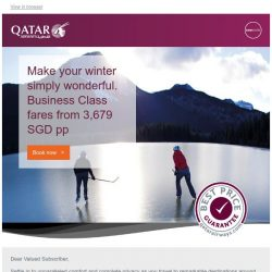 [Qatar] Make your winter simply wonderful. Companion fares in Business Class from 3,679 SGD pp