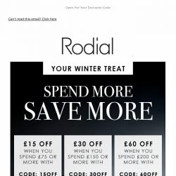 [RODIAL] Have You Heard? Save Up To £60 Off 💕