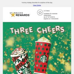 [Starbucks] Three cheers! Enjoy a 1-for-1 treat on Venti-sized Holiday French Vanilla Latte, Peppermint Mocha and Toffee Nut Crunch Latte ⛄