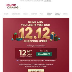 [iShopChangi] Leave no space under the 🎄! Easy peasy with 12% off! 🎁