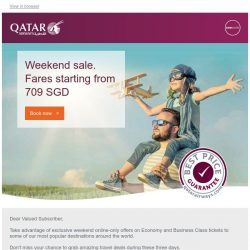 [Qatar] Weekend sale. Fares to Johannesburg, London and more starting from 709 SGD