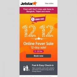 [Jetstar] Did you forget to check this out? ✈ Final hours to book 12.12 Online Fever Sale!