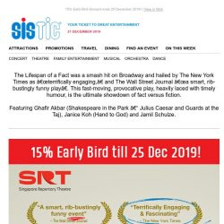 [SISTIC] Fake news vs truths: Catch SRT's latest play at 15% OFF!