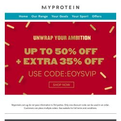 [MyProtein] Unwrap Your Ambition With These Deals