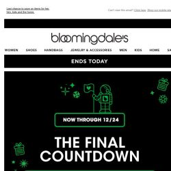 [Bloomingdales] Ends today! Take 15% off throughout the site