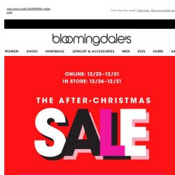 [Bloomingdales] Merry Christmas! Take up to 25% off throughout the site