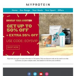 [MyProtein] Enjoy Great Deals With Up To 50% Off! 🔥
