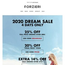 [Forzieri] ⏰ 96h-only VIP Access to 2020 with DREAM SALE