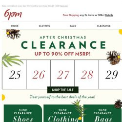 [6pm] Up to 90% off After Christmas Clearance!