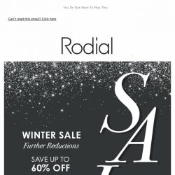 [RODIAL] Further Reductions   SALE - Up To 60% Off