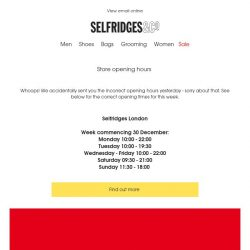 [Selfridges & Co] Corrected store opening hours