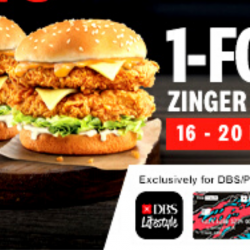 KFC: Enjoy 1-for-1 Zinger Stacker when You Pay with DBS PayLah! or DBS/POSB Debit/Credit Cards!