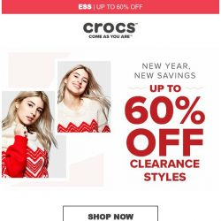 [Crocs Singapore] New Year, New Savings! Up to 60% Off!