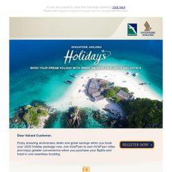 [Singapore Airlines] Enjoy exclusive Singapore Airlines Holidays package deals to exciting destinations