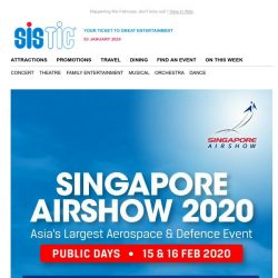 [SISTIC] ONLY ONCE IN TWO YEARS! Get your tickets to Singapore Airshow 2020 now!