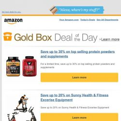 [Amazon] Save up to 30% on top selling protein powders...