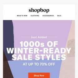 [Shopbop] 1000s of just-added sale styles (at up to 70% off!)