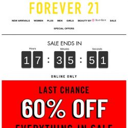 [FOREVER 21] LAST CHANCE: 60% OFF EVERYTHING!