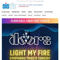 [SISTIC] Flash Sale: $50 Tickets to The Doors – Reimagined on 8 Feb!
