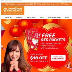 [Guardian] 🍊 Lunar New Year Special: Receive FREE red packets and $8 + $18 worth of vouchers on your next purchase!