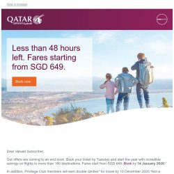 [Qatar] ⏳ Less than 48 hours left. Book flights from SGD 649 and save