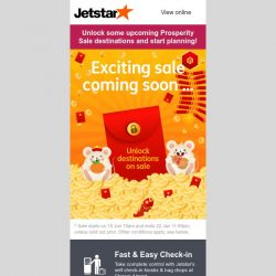 [Jetstar] 🔑 Unlock some exciting destinations going on sale for our Prosperity Sale!