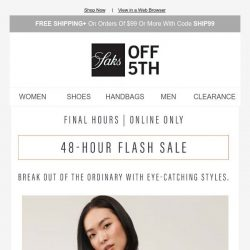 [Saks OFF 5th]  Last day: extra 20% OFF A.L.C., Helmut Lang & more