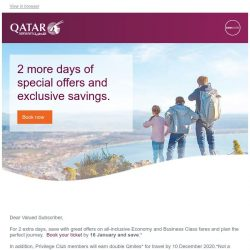 [Qatar] Offer extended for 2 more days. Amazing fares starting from SGD 649