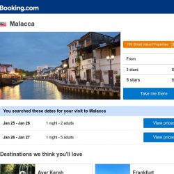 [Booking.com] Deals in Malacca from S$ 8