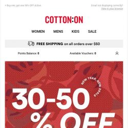 [Cotton On] Oh hello, 30-50% OFF 😆