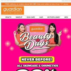 [Guardian] 💄 Beauty Days is back with NEVER BEFORE 30% off on ALL Skincare & Cosmetics!