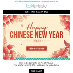 [lookfantastic] PRE CHINESE NEW YEAR | 28% OFF on Elemis, Filorga, Shea Moisture and more!