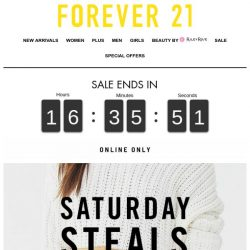 [FOREVER 21] 24HRS ONLY: SATURDAY STEALS