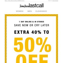 [Last Call] Our official thank you: extra 40%–50% off ALL APPAREL