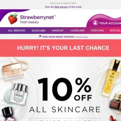 [StrawberryNet] 🚨Extra 10% Off Skincare - it's your last chance!
