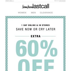 [Last Call] WOW! Extra 60% off cold-weather wear & boots