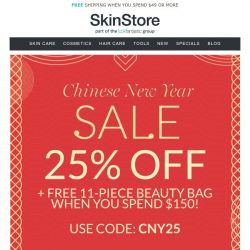 [SkinStore] Chinese New Year Sale | 25% Off + FREE 11-Piece Beauty Bag