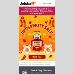 [Jetstar] ⏰ Final call! You don't want to miss these Prosperity Sale fares.