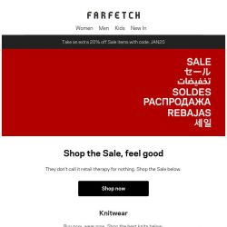 [Farfetch] Extra 20% off Sale. Shop by category