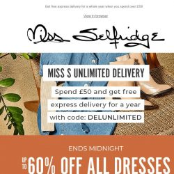 [Miss Selfridge] Up to 60% off ALL Dresses ends TONIGHT ⏳