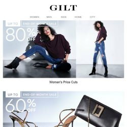 [Gilt] January's ending. UP TO 80% OFF is just beginning.