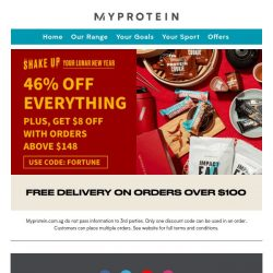 [MyProtein] Get 46% Off And Extra Fortune From Us! 😊
